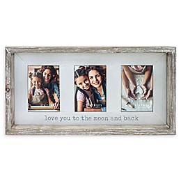 Sixtrees Thee-Photo 4-Inch x 6-Inch Love You To The Moon Farmhouse Frame in Grey/White
