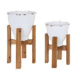 Kate and Laurel® 2-Piece Eton Planter Set in White