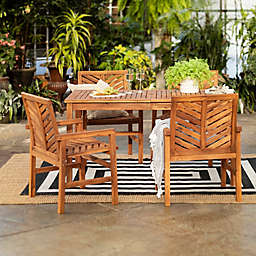 Forest Gate Chevron 5-Piece Acacia Wood Patio Dining Set