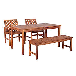 Forest Gate Olive 4-Piece Outdoor Acacia Dining Set in Brown