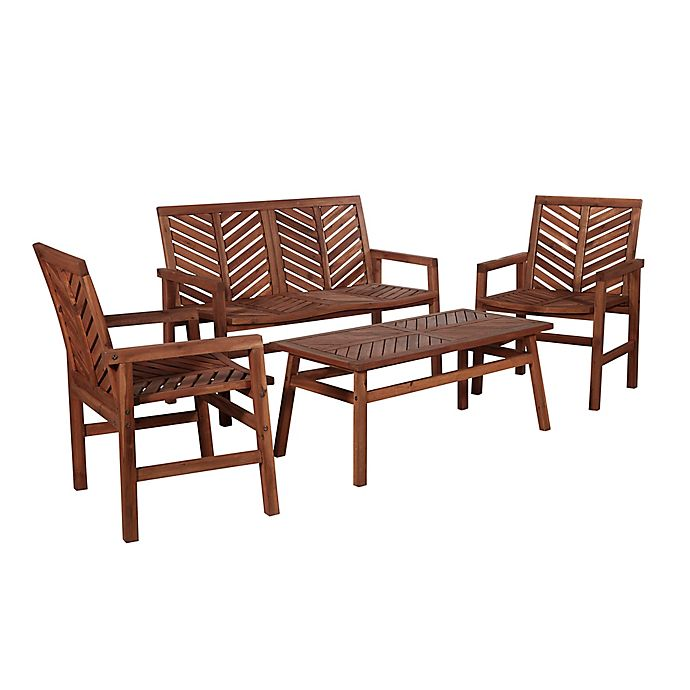 Alternate image 1 for Forest Gate Olive 4-Piece Outdoor Acacia Chat Set in Dark Brown