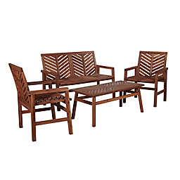 Forest Gate Olive 4-Piece Outdoor Acacia Chat Set in Dark Brown