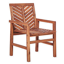 Forest Gate Chevron Acacia Wood Patio Armchairs (Set of 2)