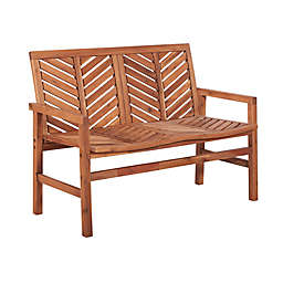 Forest Gate Olive Outdoor Acacia Wood Loveseat Bench in Brown