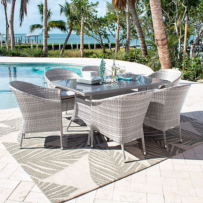 Alternate image 1 for Athens 7-Piece Patio Armchair Dining Set in White Wash with Canvas Cushions
