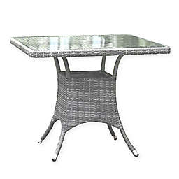 Athens 36-Inch Square Patio Dining Table in White Wash