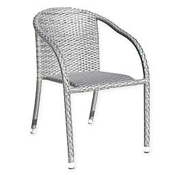 Athens Stackable Woven Patio Armchair in White Wash