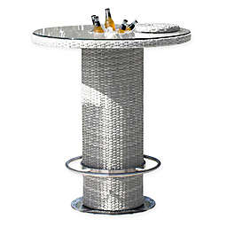 Athens 40-Inch Round Patio Pub Table in White Wash