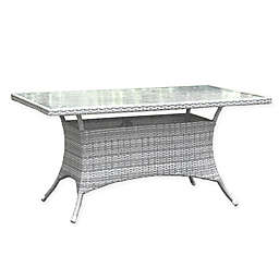 Athens 36-Inch x 60-Inch Rectangular Patio Dining Table in White Wash