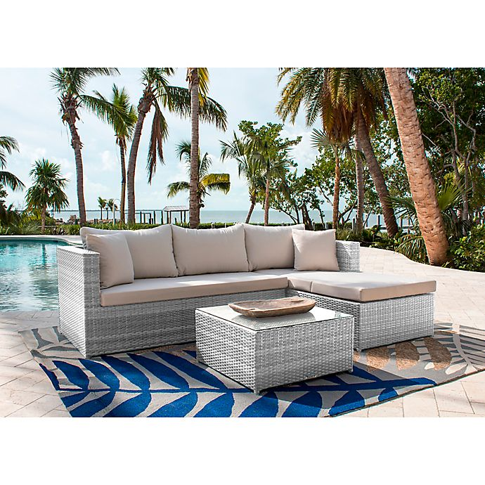 Alternate image 1 for Athens 3-Piece Patio Sectional Sofa Set in White Wash with Coffee Table and Canvas Cushions