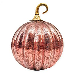 10-Inch Crackle Glass Pumpkin in Blush