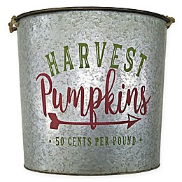 Galvanized Pumpkin Bucket Decoration in Grey