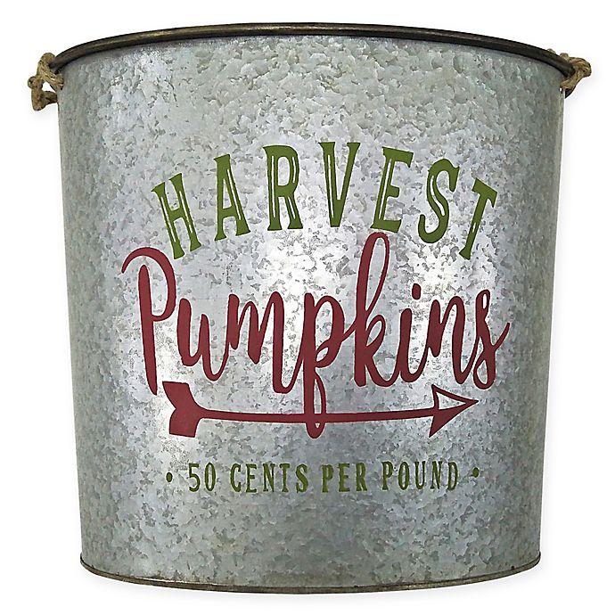 Alternate image 1 for Galvanized Pumpkin Bucket Decoration in Grey