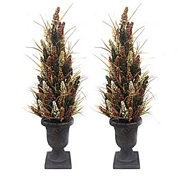 33-Inch Artificial Potted Porch Trees (Set of 2)