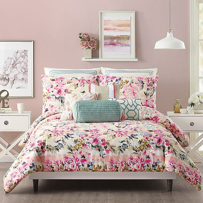 Alternate image 1 for Jessica Simpson Bellisima Full/Queen Comforter Set in Pink
