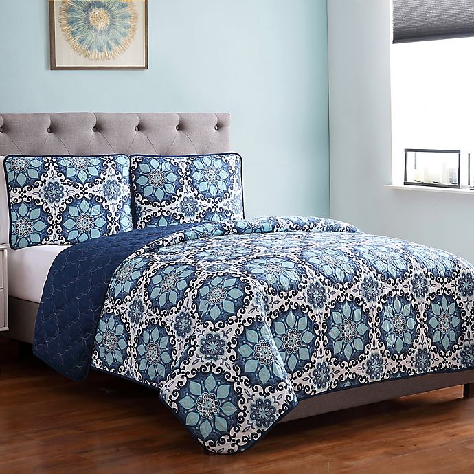 Alternate image 1 for Sampson Medallion 2-Piece Twin Quilt Set in Blue