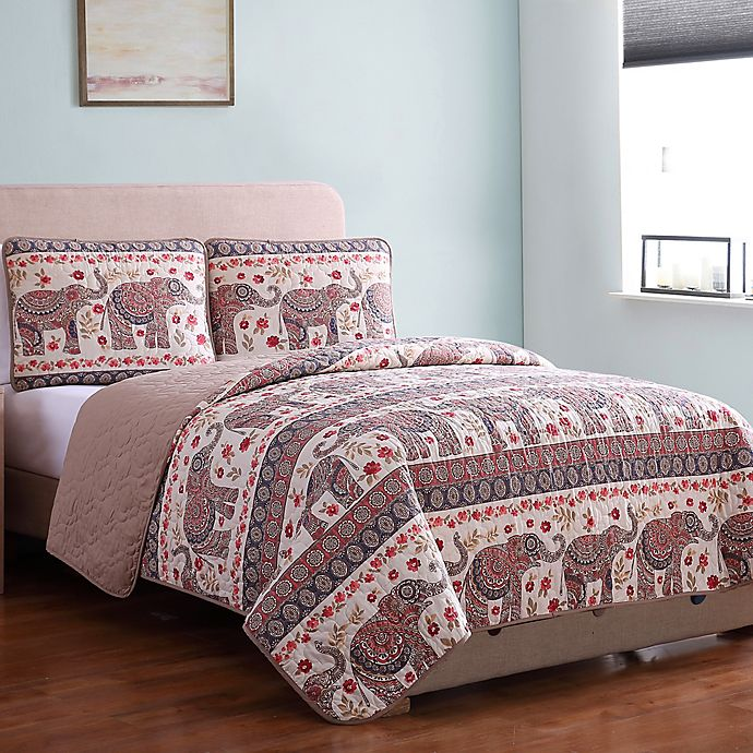 Alternate image 1 for Elephant Print Reversible Twin Quilt Set in Brown/Red