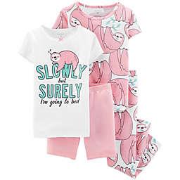 carter's® 4-Piece Sloth Toddler Pajama Set in White