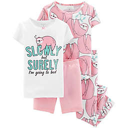 carter's® 4-Piece Sloth Pajama Set in White
