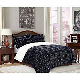 Elegant Comfort Luxury Plaid Sherpa Reversible Comforter Set