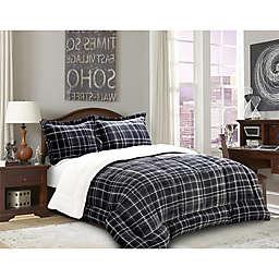 Elegant Comfort Luxury Plaid Sherpa 3-Piece Reversible King Comforter Set in Grey