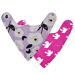 Tea Collection 2-Pack Reversible Cotton Doves Bibs in Pink