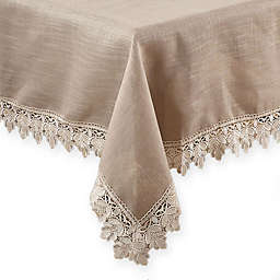 Saro Lifestyle Venetto Lace Tablecloth in Taupe