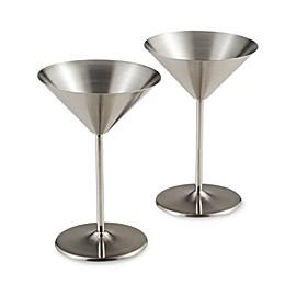 Oggi™ Stainless Steel Martini Glasses (Set of 2)