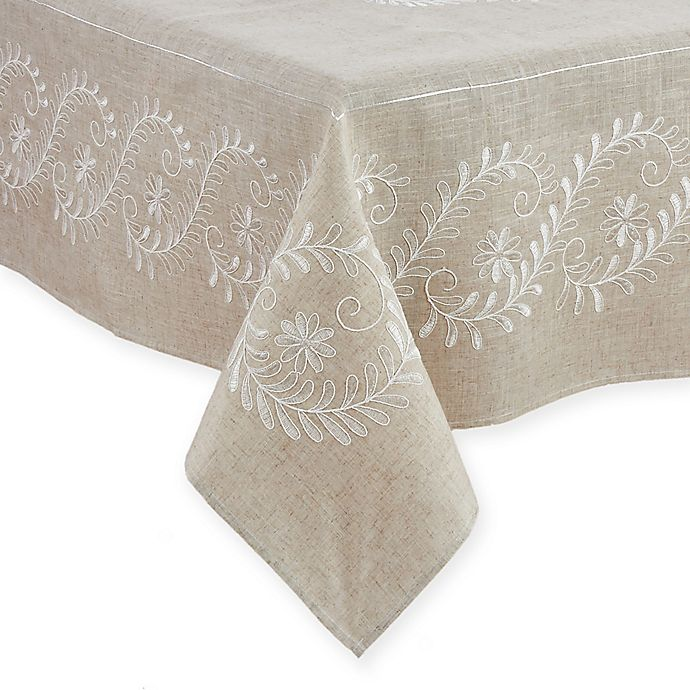 Alternate image 1 for Saro Lifestyle Penelope 67-Inch x 104-Inch Oblong Tablecloth in Natural