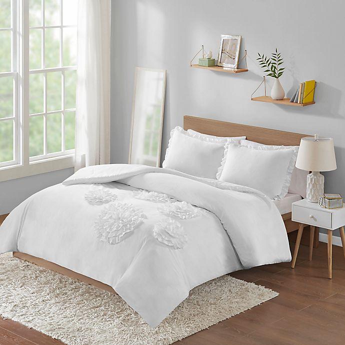 Alternate image 1 for Intelligent Design Ella 3-Piece Full/Queen Comforter Set in White