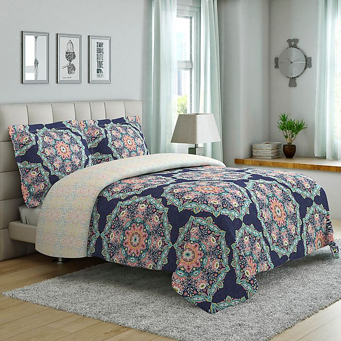 Alternate image 1 for Tribal Medallion 3-Piece Reversible Full/Queen Comforter Set in Navy