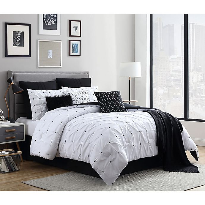 Alternate image 1 for Catelyn 10-Piece King Comforter Set in White/Black