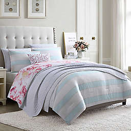 Hampton Stripe 5-Piece Reversible Twin Comforter Set in Seafoam