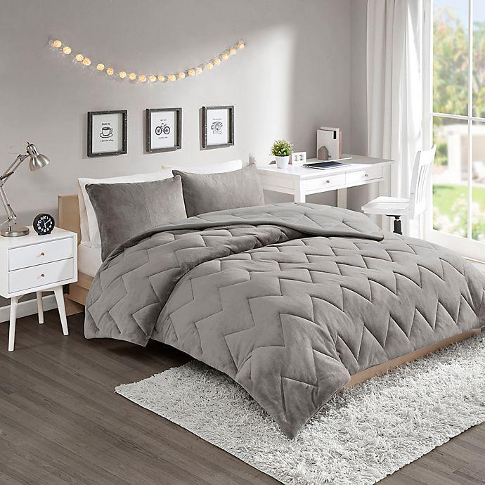 Alternate image 1 for Intelligent Design Kai 3-Piece Reversible Full/Queen Comforter Set in Grey