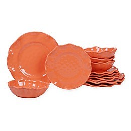 Certified International Perlette 12-Piece Melamine Dinnerware Set in Coral