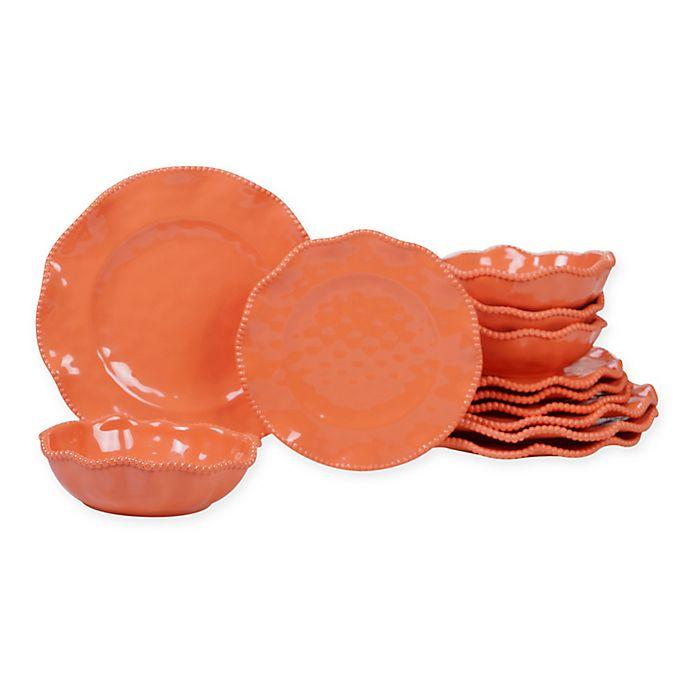 Alternate image 1 for Certified International Perlette 12-Piece Melamine Dinnerware Set in Coral