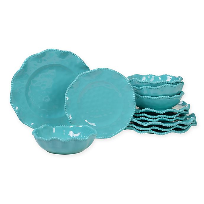 Alternate image 1 for Certified International Perlette 12-Piece Melamine Dinnerware Set in Teal