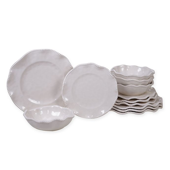 Alternate image 1 for Certified International Perlette 12-Piece Melamine Dinnerware Set in Cream