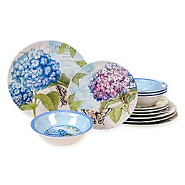 Certified International Hydrangea Garden Melamine 12-Piece Dinnerware Set