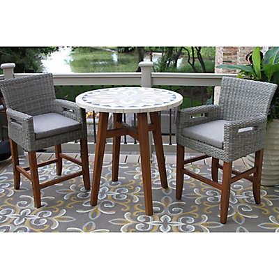 Outdoor Interiors® 3-Piece Counter Height Marble Table & Wicker Chairs Set