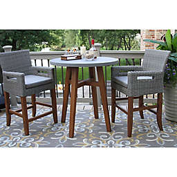 Outdoor Interiors® 3-Piece Counter Height Composite Table & Wicker Chairs Set in Brown/Grey