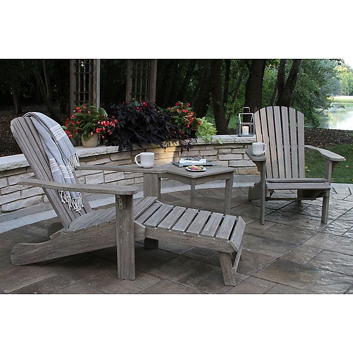 Alternate image 1 for Outdoor Interiors® 3-Piece Eucalyptus Adirondack Chair and Table Set in Grey