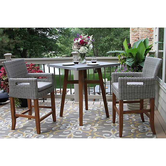 Outdoor Interiors 3 Piece Counter Height Square Bistro Set In Brown Grey