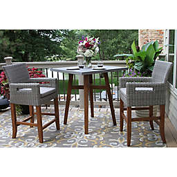 Outdoor Interiors® 3-Piece Counter Height Square Bistro Set in Brown/Grey