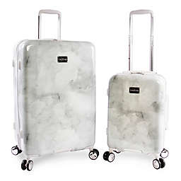 Bebe Lilah 2-Piece Hardside Spinner Luggage Set in Silver Marble