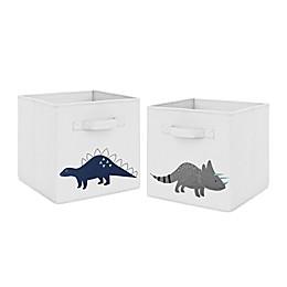 Sweet Jojo Designs® Mod Dinosaur Fabric Storage Bins in Blue/Grey (Set of 2)