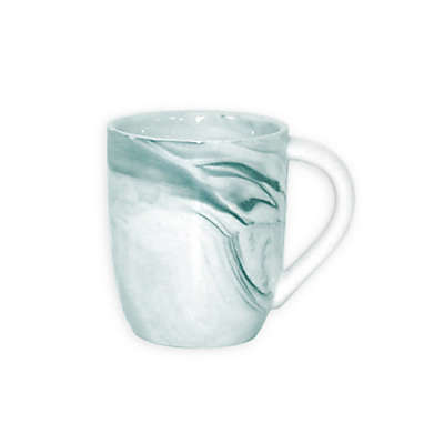 Artisanal Kitchen Supply® Coupe Marbleized Espresso Mug in Teal/White
