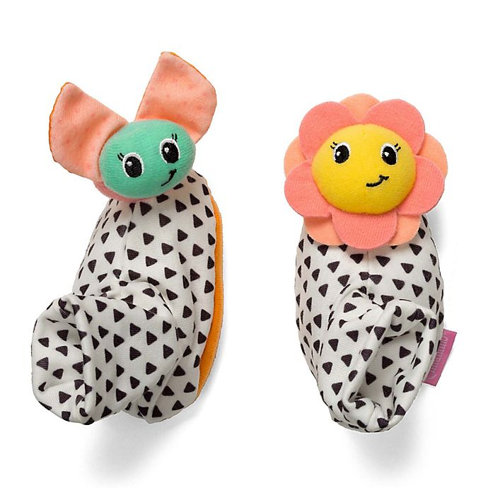 Alternate image 1 for infantino® Bug and Sunflower Foot Rattles (Set of 2)