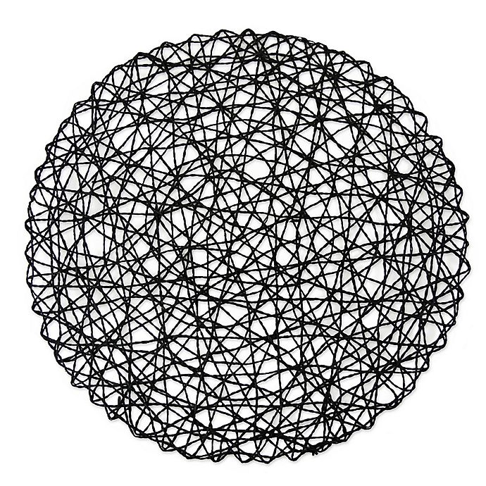 Alternate image 1 for Design Imports Woven Round Placemats in Black (Set of 6)
