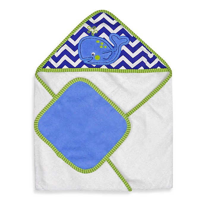 Alternate image 1 for Neat Solutions® Whale Hooded Towel & Washcloth Set